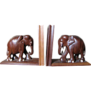 Great Looking Hand Carved Teak Elephant Bookends