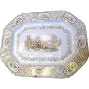 1842 English Ironstone Brown Transferware Platter, Rustic Scenery by J. Clementson, Staffordshire
