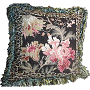 Harris, Flamboyant Wool Needlepoint Pillow, Shaggy Fringes, Leopard Pattern with Flowers!