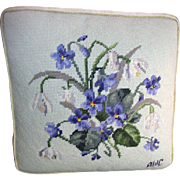 Darling Wool Needlepoint Pillow with Violet & Snowdrop Bouquet
