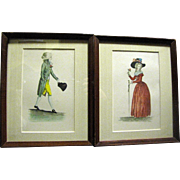 Pair of Small Antique French Lithographic Prints of an 18th Century Lady & Gentleman
