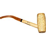 "South Carolina's ""Tricentennial"" Missouri Meerschaum Corncob Smoking Pipe w/ Amber Stem, 1670 1970"