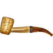 "Missouri ""Bull Dog"" Corncob Meerschaum Smoking Pipe w/ Amber Stem"