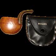 Rare, Vintage Brebbia Rolex Italy Briar Round Vest Pocket Smoking Pipe w/ Adjustable Stem, & Original Case, Authentic, Mint