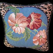 Beautiful Wool Needlepoint Cheetah and Poppy Design Pillow, Stylish!