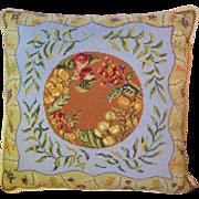 "Large and Vibrant 20"" Wool Needlepoint Botantical Design Pillow"