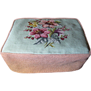 For Harris - Lovely Vintage Wool Needlepoint Footstool or Storage Box Cover