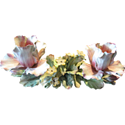 Large & Elegant Capodimonte Tulip Floral Spray Double Candle Holder