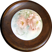 Beautiful Signed Hand Painted Porcelain Rose Plaque with Hardwood Frame
