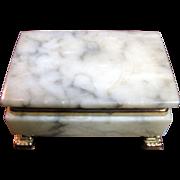 Beautiful Italian Vintage Marble Box Jewelry or Cigarette Box, Ormalu Paw Feet and Mounts