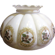 """Huge 13 5/8"""" Antique Hand Decorated Milkglass Lampshade for Victorian Parlor Lamp"""