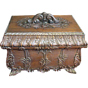 For Harris & $120, Large Ornate Carved Vintage Hardwood Casket with Layered Fitted Interior