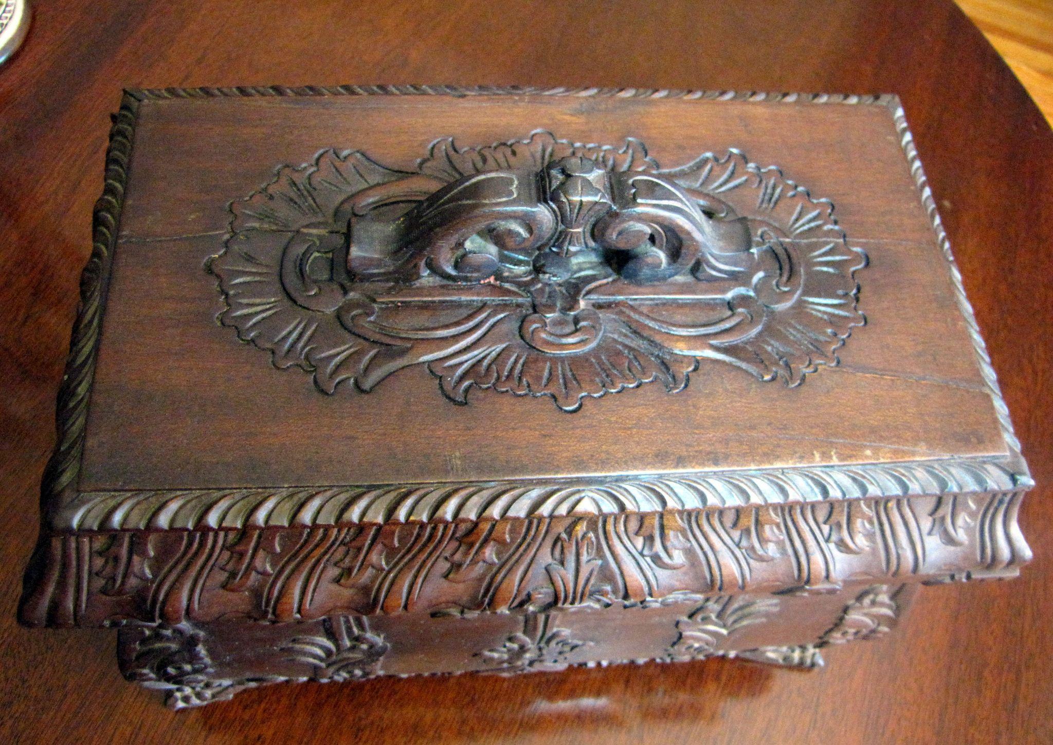 For harris large ornate carved vintage hardwood