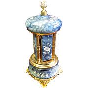 Reuge Swiss Movement Musical Box Cigarette Carousel, Hand Decorated Italian Onyx with Ormolu Mounts