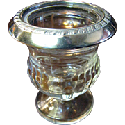 Sterling Silver Rimmed Glass Cigarette, Trinket or Toothpick Holder, Urn Form