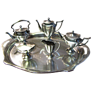 Miniature HEAVY Sterling Silver Coffee Tea Set with Kettle & Tray by Bela