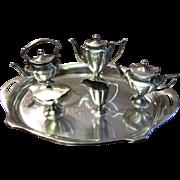 Miniature HEAVY Sterling Silver Coffee Tea Set with Kettle & Tray by Bela