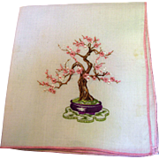 Japanese Bonsai Tree Design Embroidered Hankie, Unusual & Pretty!