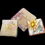 3 Pretty Vintage Printed Floral Hankies (2 Larger Sized)