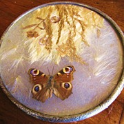 Victorian Etched Silver Plate Encased Foliage & Butterfly Vanity Tray