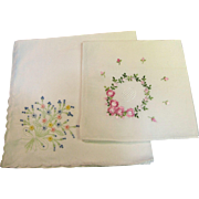 Gorgeous Pair of Embroidered Floral Hankies, Bouquet, Garland