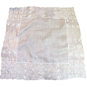 "Exquisite Linen Batiste Wedding Hankie with 3"" Deep Lace Borders"