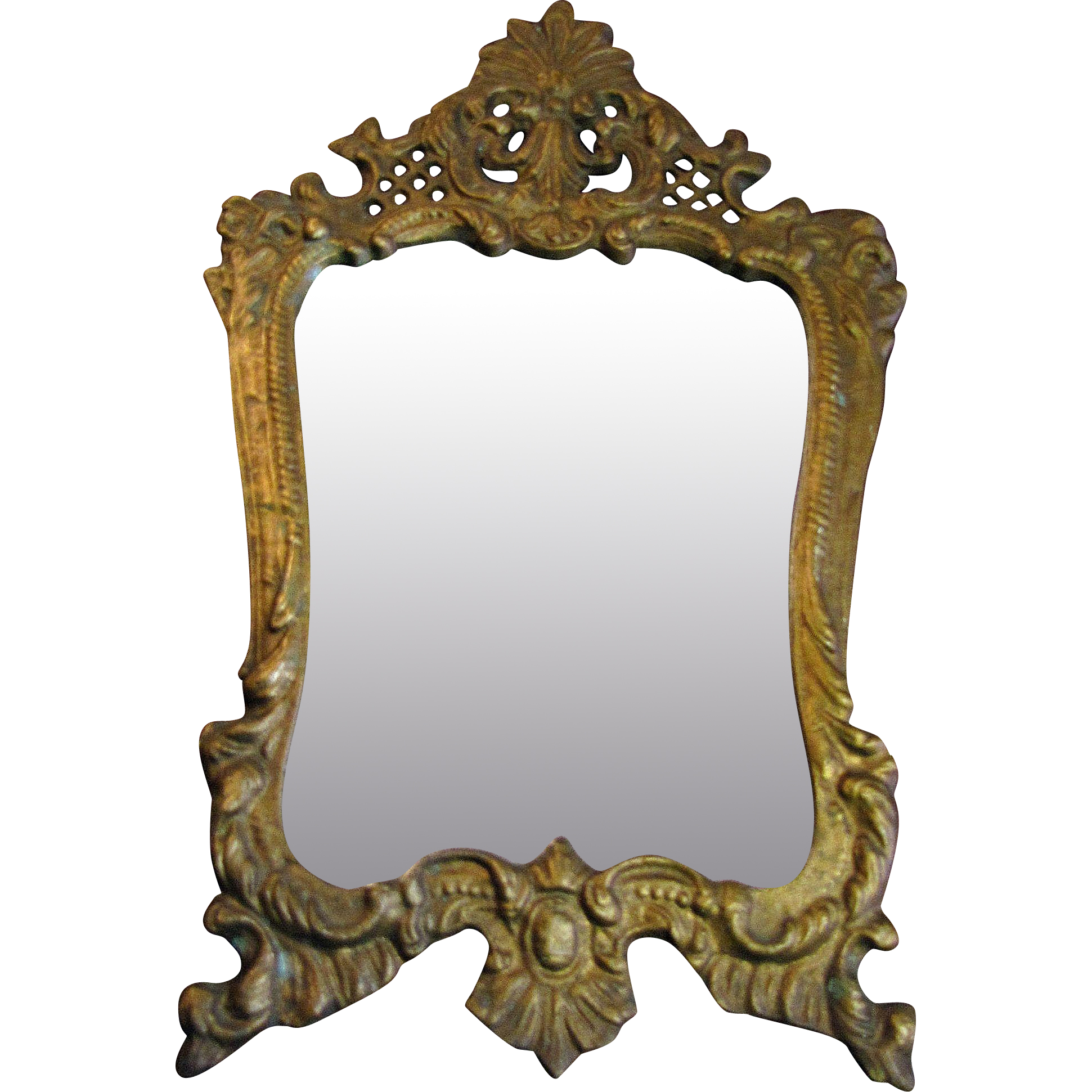 victorian gilt ornate french rococco style cast metal wall mirror or picture frame - Metal Mirror Frame