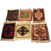 6 Doll Size Oriental Wool Rugs, Vintage Salesman's Samples