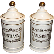 "Stylish Pair of Vintage Spanish 9 1/2"" Hand Painted Apothecary Jars  ""Balsamum & Gentiana"""