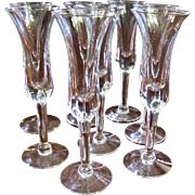 Eight Elegant Blown Glass Cordial or Small Sherry Glasses