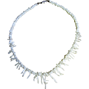 "Pretty 16"" White Branch Coral Necklace"