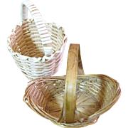 Pair of Miniature Woven Baskets for Small Doll or Doll House Display