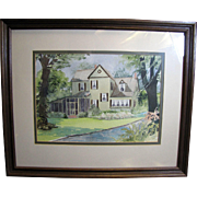 Harris, September Charming Vintage Framed Watercolor of Country House by SC Artist Betty Lane Kornegay
