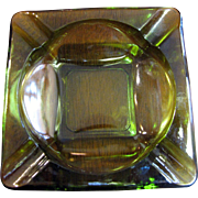 Anchor Hocking Green Glass Square Ashtray, Nice!