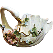 Large Capodimonte Swan Vase with Floral Decoration
