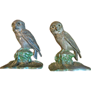 Harris, April, Pair of Antique Cast Iron Owls with Original Distressed Paint Finish, Possibly Hubley