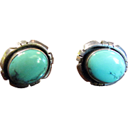 Finest American Indian Turquoise Sterling Silver Earrings, Signed for Navajo Silversmith Benjamin Piaso