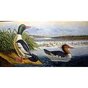 Stunning Contemporary Acrylic on Canvas Painting of Wild Ducks on a River by Helen Dunn