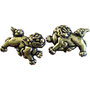 Shakudo Sterling Japanese Foo Dog Cufflinks from Menuki Sword Fittings