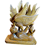 Harris, July, Exceptionally Fine Asian Hardwood Sculpture, Bird Feeding Chick