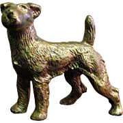 Harris, August, Antique Gilt Bronze Dog, Sweet Face, Great Stance