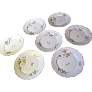 "Lovely Set of Seven L.S & S French Limoges 7 1/4"" Gilt Floral Plates"
