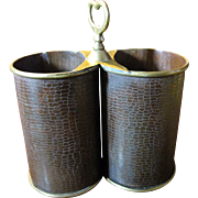 Harris, Vintage Brass and Embossed Metal Double Wine Bottle Carrier