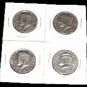 Four Kennedy Half Dollars 1972, 1974, 1997, Bicentennial 1776-1976