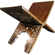 Vintage Middle Eastern Rosewood Folding Book Stand with Fine Bone Inlays