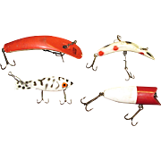 4 Vintage Striped & Spotted Bait Lures, 2 1/2 - 3 Inches