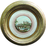 "Large Georgian Reverse ""Treacle"" Print on Glass, European Castle Scene"