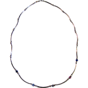 "Exceptionally Delicate Sterling & Crystal Bead 16"" Necklace"