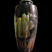 Beautiful Japanese Vintage Mixed Metal Vase with Flower & Bird Design