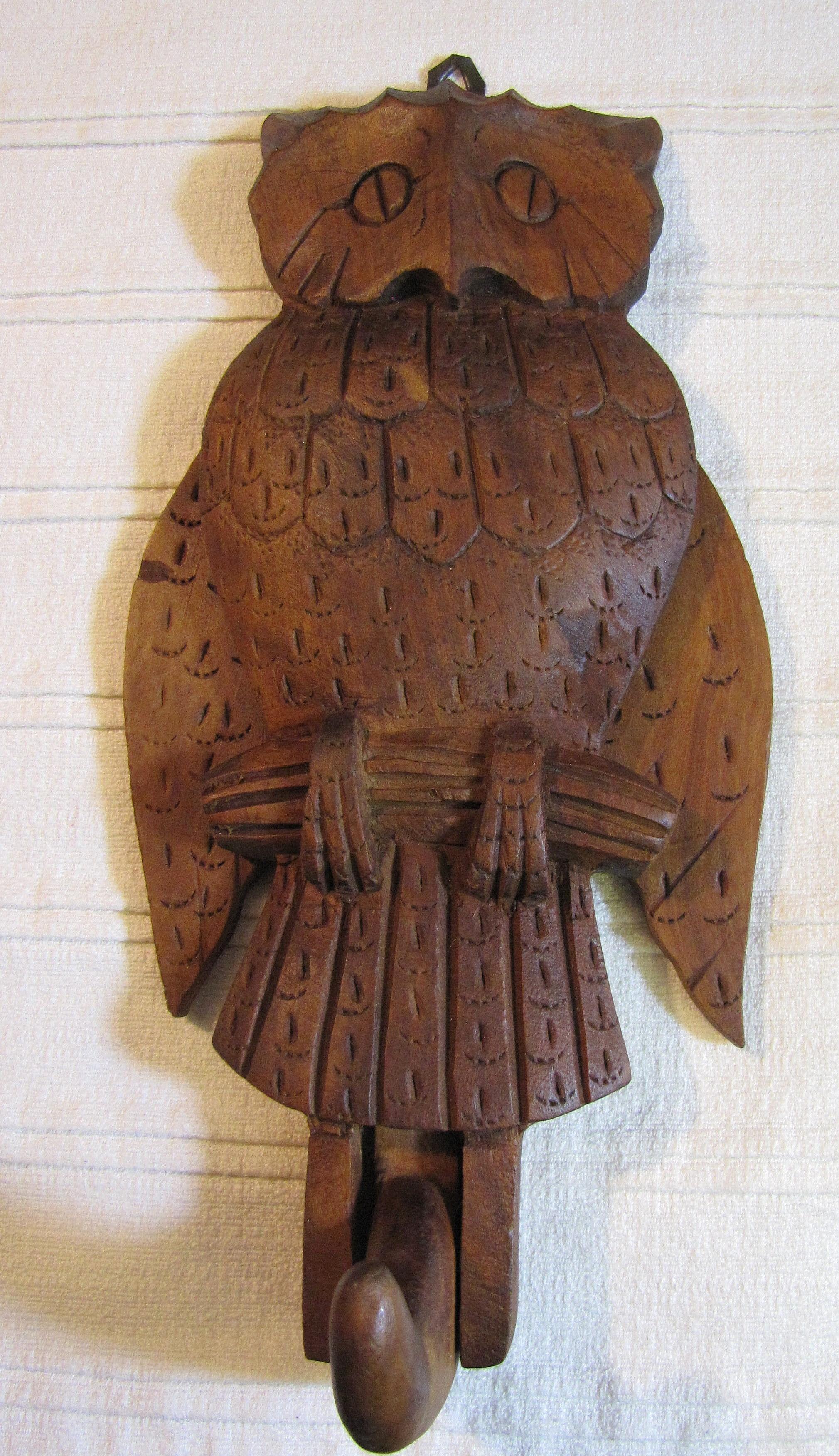 Harris october vintage hand carved wooden folk art owl